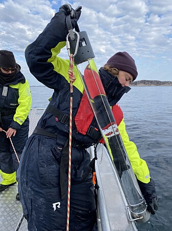 Annecken Nøland retrieves the NTNU-designed seawater sampler during a recent research trip to Mausund Field Station.
