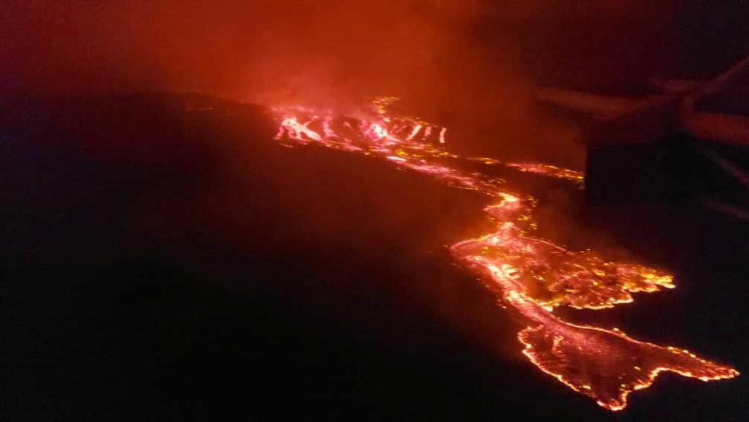 Lava som strømmer fra utbruddet på vulkanen Nyiragongo i Kongo.