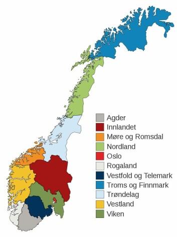Folk i Agder, Telemark og Rogaland var veldig like hverandre i den nye studien. Det er det grå, det hvite og det mørkeblå fylket helt sør på kartet.