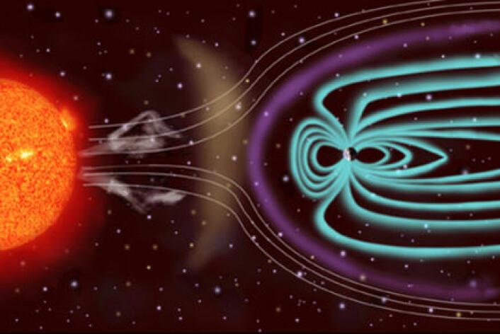 """""""Partiklene i solvinden følger og bøyes av ved planetenes magnetfelt. (Illustrasjon: NASA)"""""""