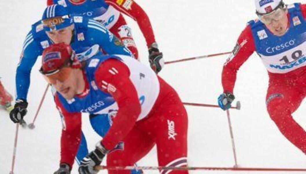 Langrennssprintere har stor nytte god utholdenhet. På bildet ser vi Eldar Rønning (t.h) og John Kristian Dahl (foran t.v.) under verdenscuprennet i Granåsen i  mars. (Foto: Johan Arnt Nesgård, Trønderavisa)