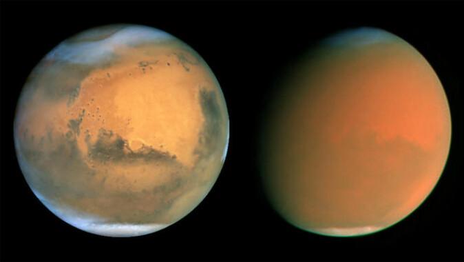 Slik ser Mars ut før og etter en støvstorm. Bildet til venstre er tatt via Hubble-teleskopet 26. juni 2001. Bildet til høyre er tatt litt over to måneder senere, 4. september 2001.