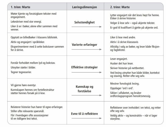 Her er et eksempel fra en lærer som har skrevet ned en elevs utvikling fra første til andre klasse i fem læringsdimensjoner.