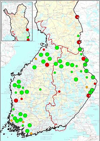 Ulveflokker (store sirkler) og revirmarkerende par (mindre sirkler) registrert i Finland, mars 2021. Grønn = dokumentert flokk eller par, oransje= sannsynlig flokk eller par, rød = usikker flokk eller par.