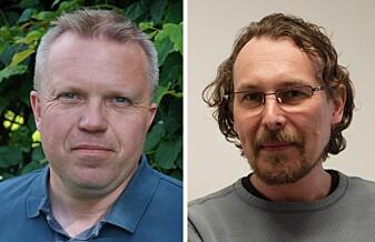 Vebjørn Bakken (til venstre) og Alexey Koposov ser en stor fremtid for batteribransjen.