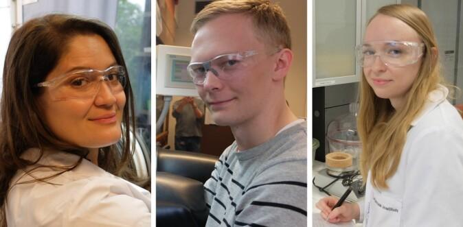 Carmen Cavallo, Anders Brennhagen og Carina Geiss tilbringer time etter time i laboratoriet.