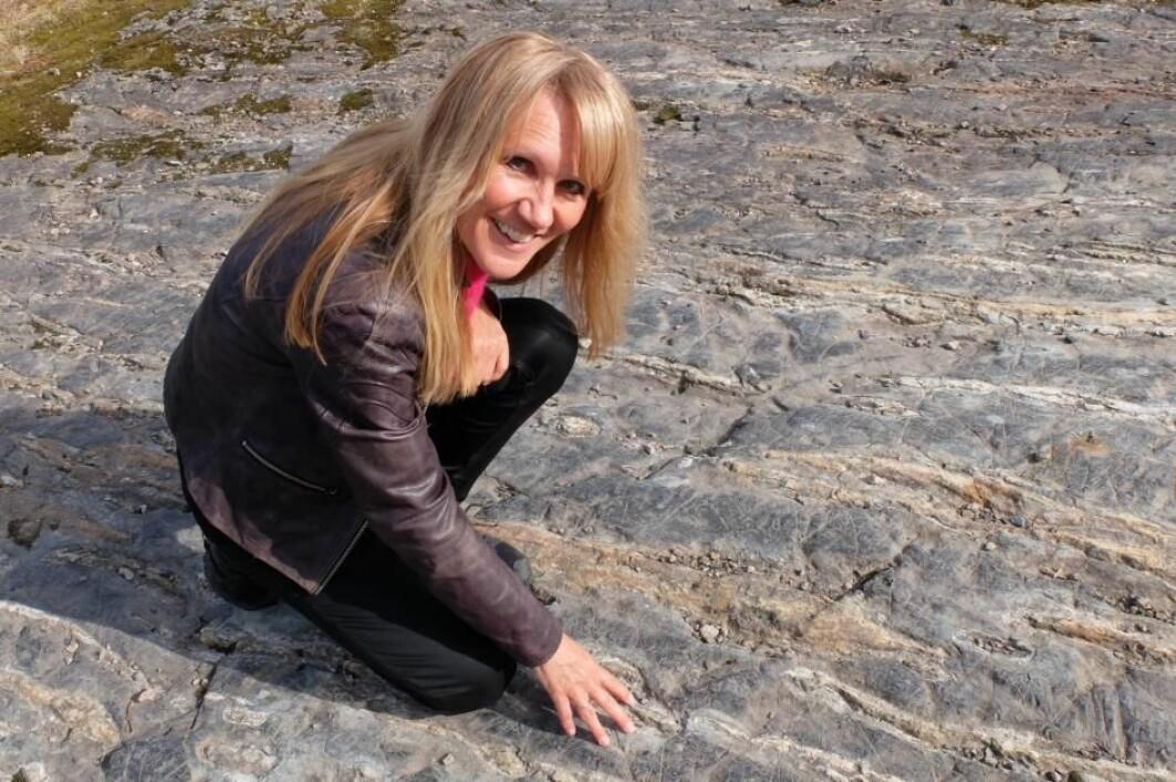 Geolog Merethe Frøyland holder grunnkurs i bergarter. Her har vi en stripete bergart som heter hornfels.