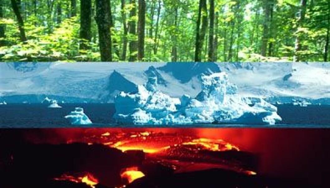 Jordobservasjon omfatter atmosfæren, biosfæren, kryosfæren, geosfæren og hydrosfæren. Illustrasjon: ESA