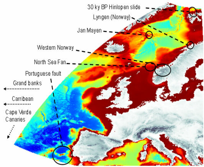 Mulige kilder til flodbølger i Nordøst-Atlanteren. (Illustration: NGI )
