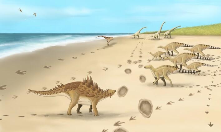Slik så det ut da de ulike dinosaurene vandret langs kysten av Dover for 110 millioner år siden, ifølge paleontologer.