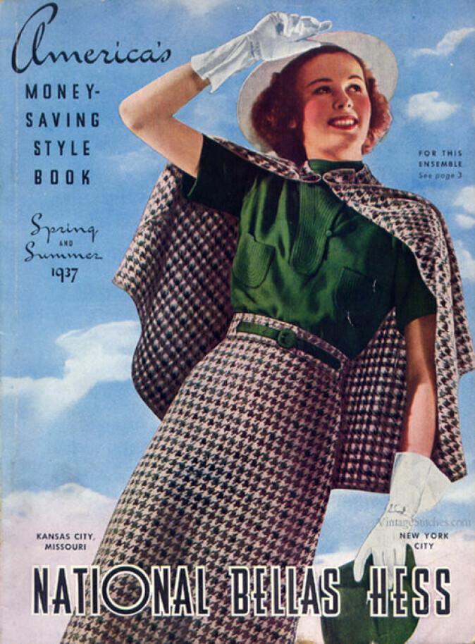 Moteskaperne i USA var stolte over å tilby klær til alle amerikanske kvinner. Her er forsiden på postordrekatalogen til National Bellas Hess fra vår- og sommersesongen 1937.