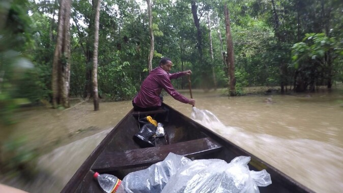 Getting from A to B in the Amazon during rainy season often requires a canoe.