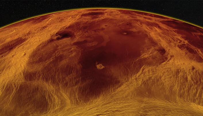 Her er en stor flate på Venus omgitt av ruglete terreng.