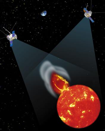 """""""Forskerne brukte data fra de to STEREO-satellittene. På denne illustrasjonen får du et inntrykk av hvordan de to fartøyene observerer sola fra hver sin kant. (Illustrasjon: NASA)"""""""