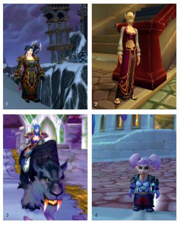 1. Dverg: Journalisten spiller også WoW. Dette er hennes dverg. 2. Blodalv: Blodalvdamene er søte, men hardstlående.3. Nattalv: Her er en av de kvinnelige vaktene som passer på nattalvenes by. 4. Gnom: Gnomene er de minste spillerfigurene i WoW. Her er damene like høye som gutta. (Bilder: Blizzard)