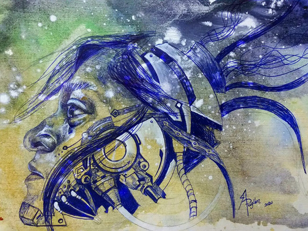 A pen and watercolour painting called 'Runa Tech'.