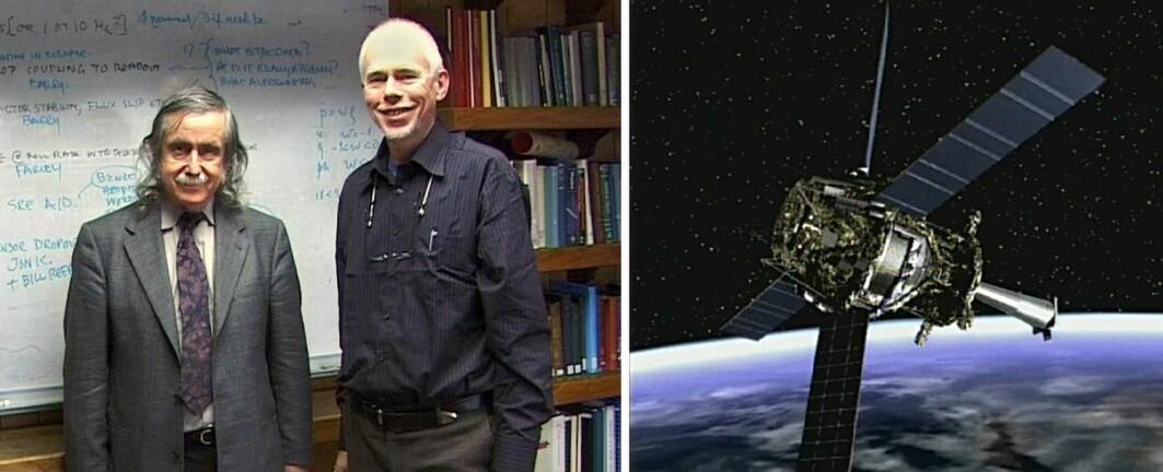 Francis Everitt og forfatteren på Stanford University våren 2004, kort tid før romsonden Gravity Probe B ble skutt opp.