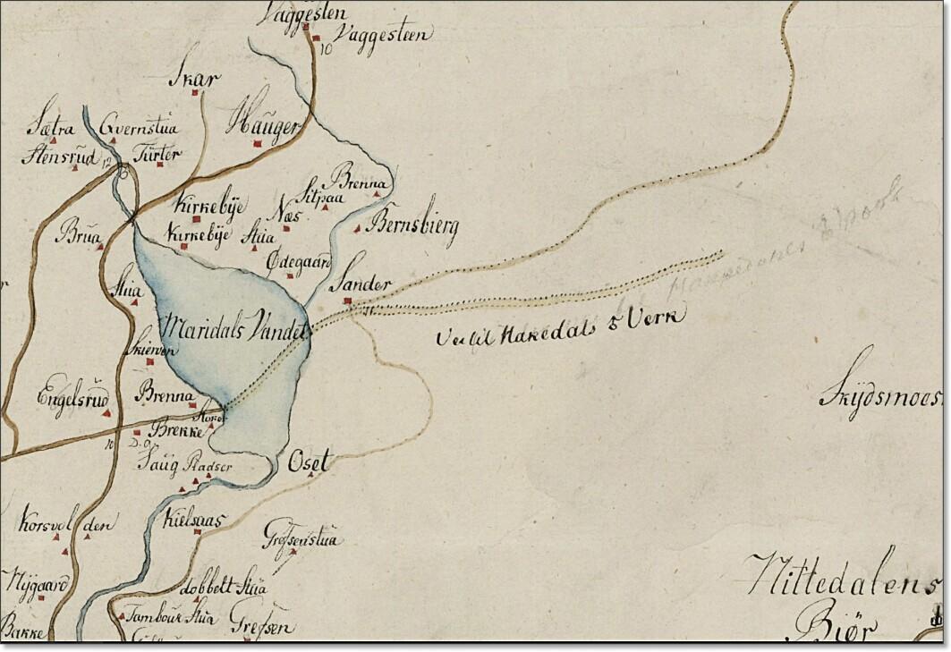 Et av de eldste kartene som viser veien oppover i Nordmarka, der den begynner ved Sander på østsiden av Maridalsvannet. På dette gamle kartet finner du også igjen kjente Oslo-navn som Grefsen, Kjelsås, Korsvoll og Skar i Maridalen.