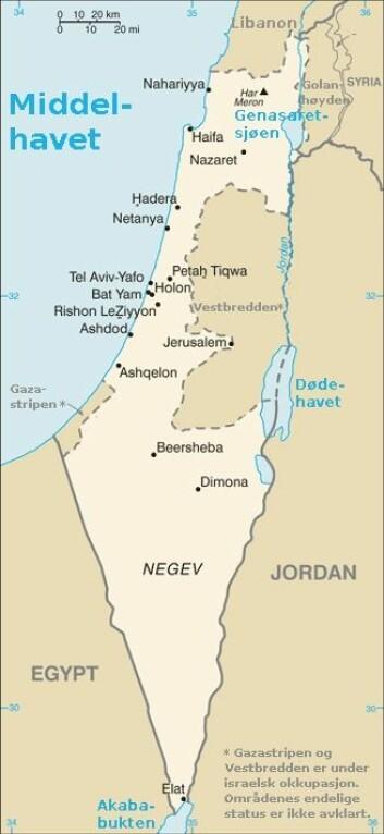 """""""Israel og de Palestina. (KIlde: Wikimedia Commons"""""""