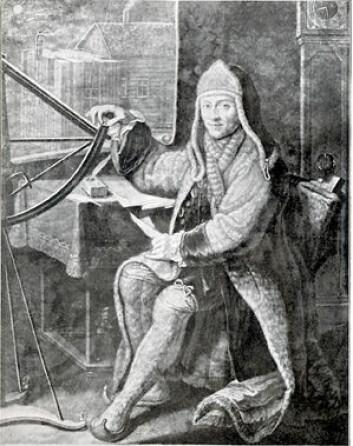"""""""Ærverdige pater Maximilian Hell av Jesu selskap poserer her i sin samiske klesdrakt i Vardøhus. Kobberstikk etter tegning av W. Pohl fra 1771."""""""