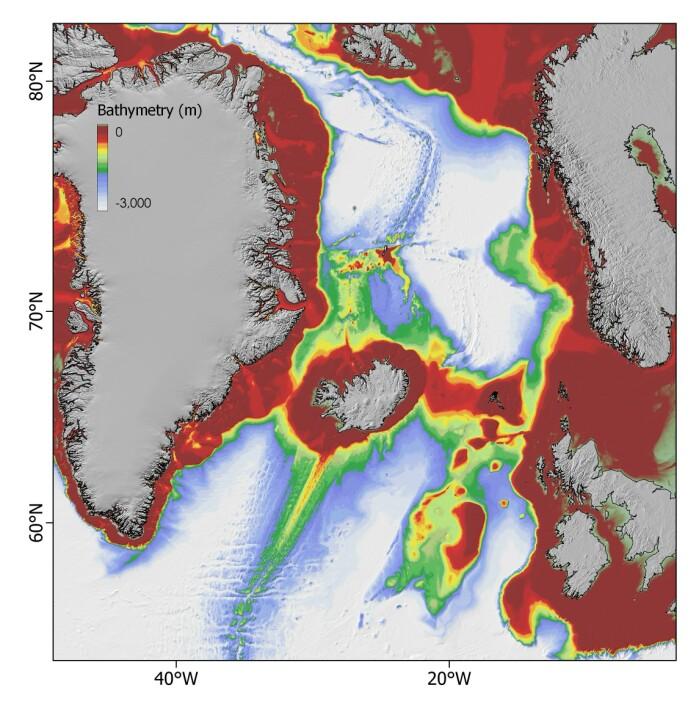 På dette kartet ser man tydelig høydeforskjellene under vann. Rødt er de grunneste områdene og hvitt de dypeste.