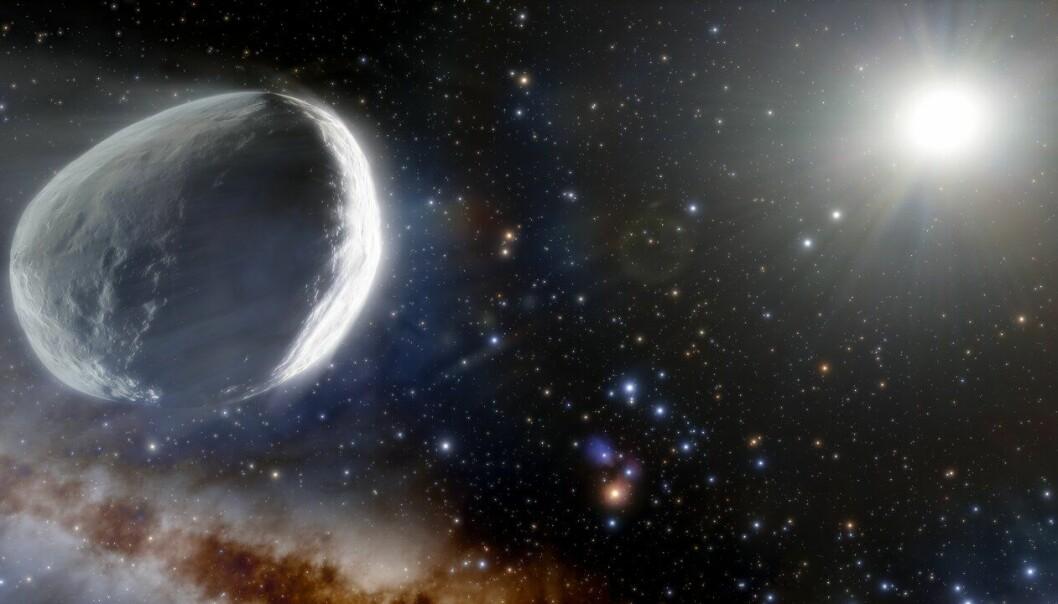 En kunstner forestiller seg Bernardinelli-Bernstein-kometen slik. Den digre kometen har brukt millioner av år på reisen fra Oortskyen og innover i solsystemet.