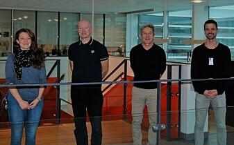 Forskningsgruppen ved CanCell: Fra venstre til høyre ser vi Simona Migliano, Harald Stenmark, Andreas Brech og Sebastian W. Schultz.
