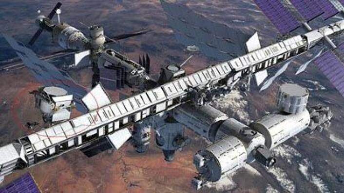 Slik vil AMS-02 sitte utenpå romstasjonen, se rød sirkel. Illustrasjon: AMS-02 Collaboration