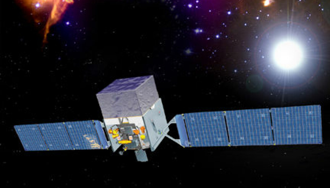 NASAs Fermi Gamma-ray Space Telescope. (Illustrasjon: NASA and General Dynamics)