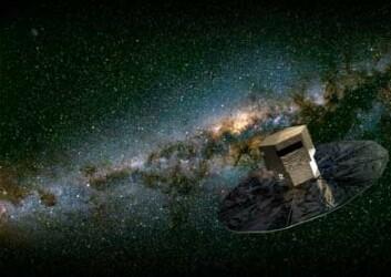 1,5 millioner kilometer fra jorda skal satelitten Gaia sveve og samle bilder fra vår egen galakse. (Illustrasjon ESA)