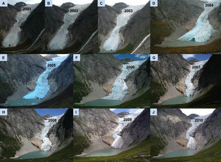 Det er stor usikkerhet om skjebnen til norske isbreer i vårt århundre. Fotoserien viser hvordan Briksdalsbreen, en vestlig utløper av Jostedalsbreen, har trukket seg tilbake i løpet av det siste tiåret. Historiske målinger av norske isbreer gjennom hele 1900-tallet er viktig for beregninger av hvordan verdens isbreer vil utvikle seg. (Fotoserie: Atle Nesje)