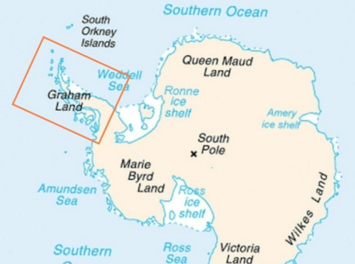 Antarktishalvøya er merket med en firkant. Sørpolen er merket med et kryss.