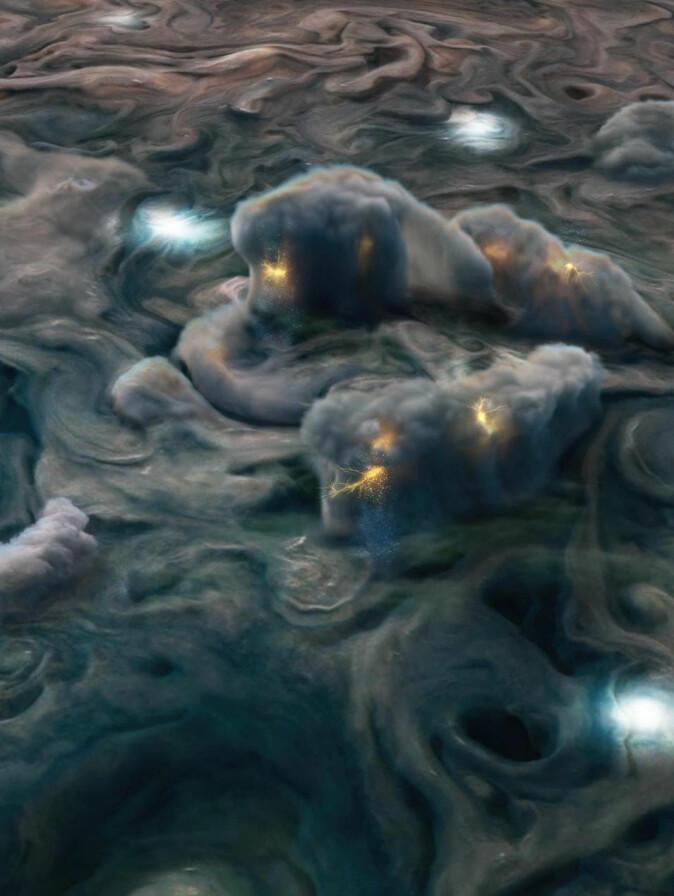 En illustrasjon av de stormfulle skyene i Jupiters atmosfære. Atmosfæren består først og fremst av hydrogen og helium, og 0,1 prosent vanndamp.