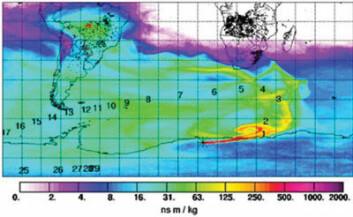 Svarte punkter er skogbranner. Rødt viser sterk forurensning over Antarktis.