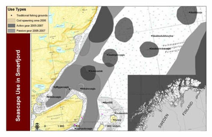Eksempel på kartlegging av gyteplasser og områder som brukes til fiske i en del av Porsangerfjorden. (Ill: Fávllis-prosjektet)