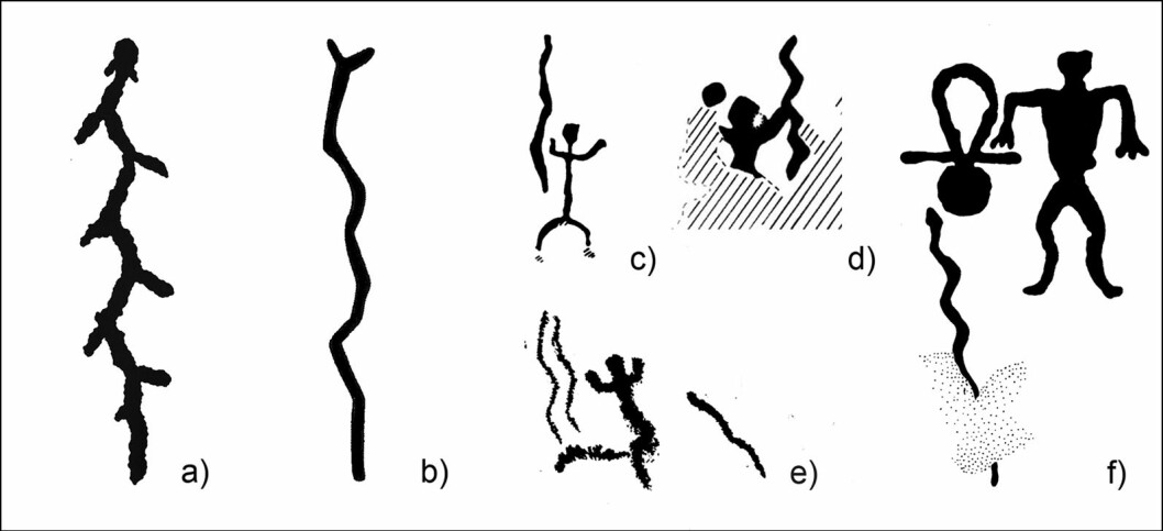 Eksempler på bergkunst-framstillinger av det som kan være slanger. C, d og e er fra Finland