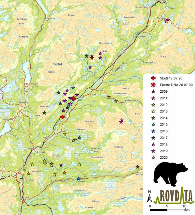 Kartet viser områdene til den eldste bjørnen, også kalt nt46. Binna ble registrert første gang sommeren 2009, og ble sett alle år, bortsett fra 2010, før den ble felt i fjor.