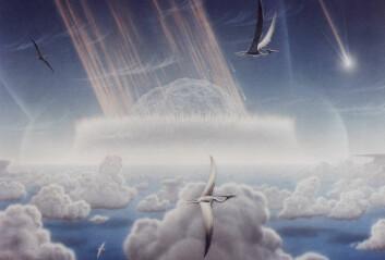 Kunstnerisk framstilling av KT-utryddelsen for rundt 65 millioner år siden, her i form av asteroideteorien. (Illustrasjon: Don Davis, NASA)