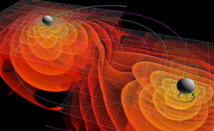 En illustrasjon av to svarte hull som er på vei mot å sirkle inn i hverandre mens de lager gravitasjonsbølger i rommet.