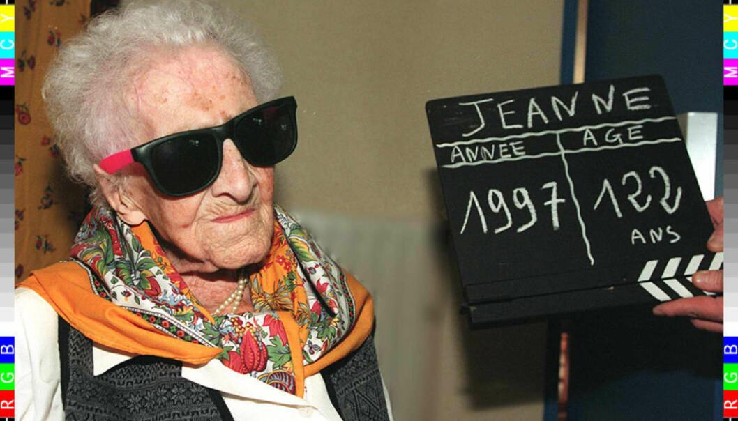 Franske Jeanne Calment ble 122 år gammel, og har med det hatt verdensrekorden i snart 24 år. Her er hun fotografert i forbindelse med 122-års dagen i 1997.