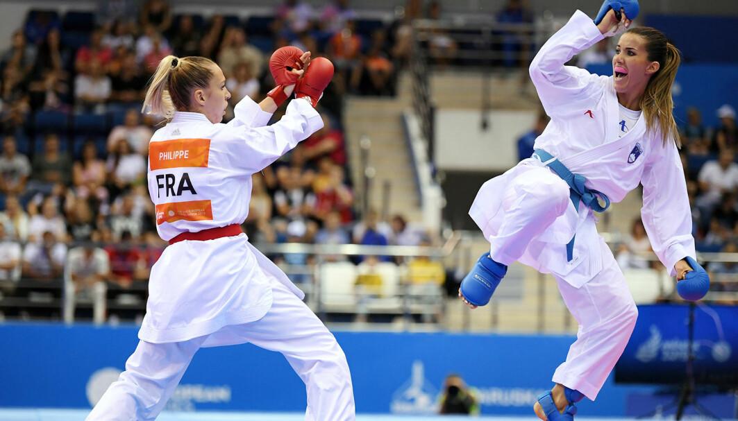 Karate blir olympisk idrett under Tokyo-OL i 2021. Gwendoline Philippe (t.v.) tar en bronse, i EM 2019, Minsk.
