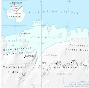 Fimbulisen er like stor som Nordland fylke, og ligger i det norske krav området i Antarktis. Troll er den norske forskningsstasjonen som ligger på fast fjell 1200 m.o.h. i Fimbulheimen. (Kart: Norsk Polarinstitutt).