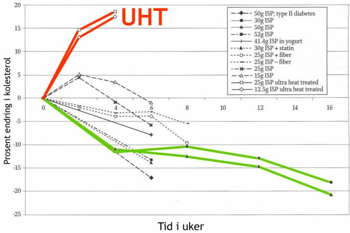 Figuren er hentet fra doktorgradavhandlingen til Lars Henrik Høie, og viser hvordan kolesterolverdiene steg med UHT-behandlet soyaprotein (røde kurver), mens to utvalgte langtidsundersøkelser viser hvordan kolesterolverdiene sank hvis soyaproteinet ikke var UHT-behandlet. (Figur: Lars Henrik Høie, bearbeidet av forskning.no)