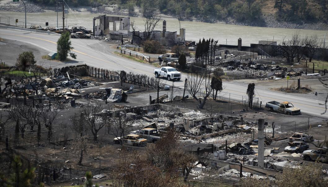 Den lille byen Lytton i British Columbia brant ned til grunnen under hetebølgen i Canada og USA nylig.