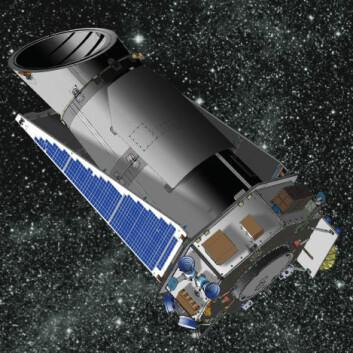 """""""Satellitten Kepler kretser om Solen. Herfra tar den bilder av tusenvis av stjerner. (Illustrasjon: NASA)"""""""
