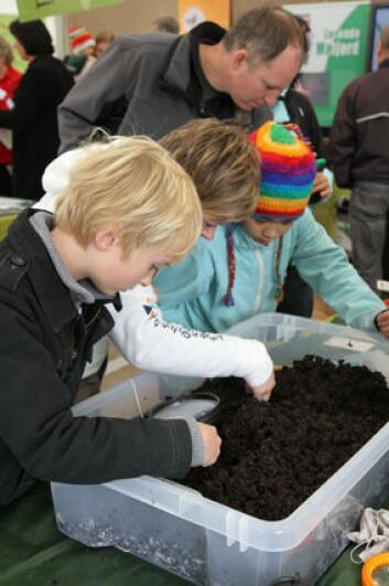 Forskningskampanjen meitemark. Her fra Forskningstorget i Oslo 2010. (Foto: Sidsel Flock Bachmann, Forskningsdagene)