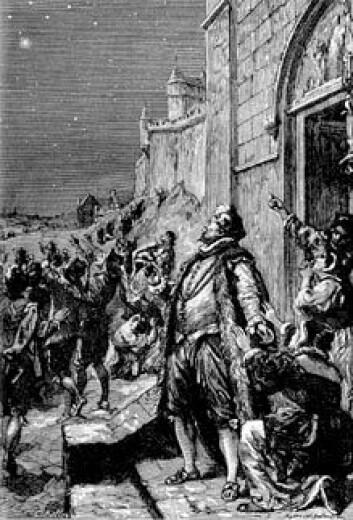 """""""Tyco Brahe oppdager den nye stjernen. Illustrasjon fra en lærebok i astronomi fra 1884."""""""