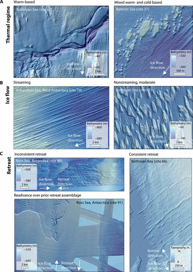 Landformer som reagerer på ulike temperaturforhold ved bresålen og på isbevegelsene. Eksemplene er fra tidligere isdekkede kontinentalsokler.