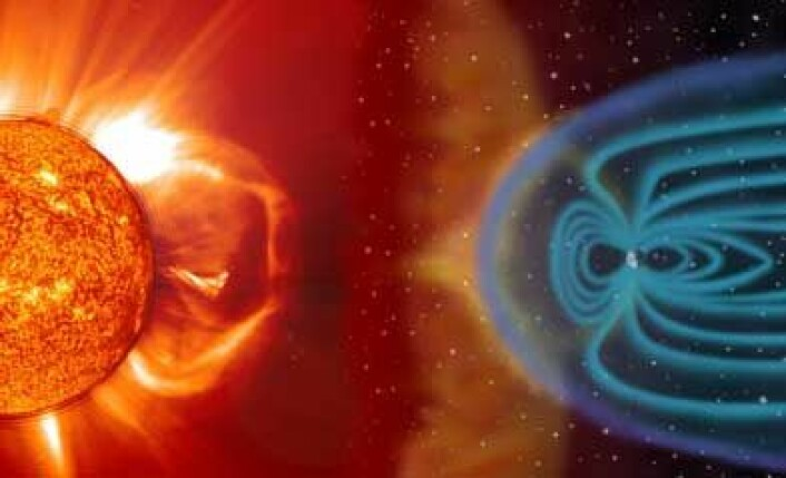 Solstormer slipper løs kraftig stråling som kan ramme piloter og kabinansatte som flyr over enkelte områder på jorda. NASA-forskere jobber med å lage en sanntidsmodell som kan beregne strålingsrisiko ved solstormer. (Figur: NASA)