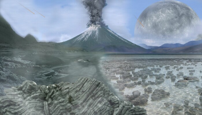 En tegning av hvordan det kan ha sett ut for mellom 4 og 2,5 milliarder år siden.